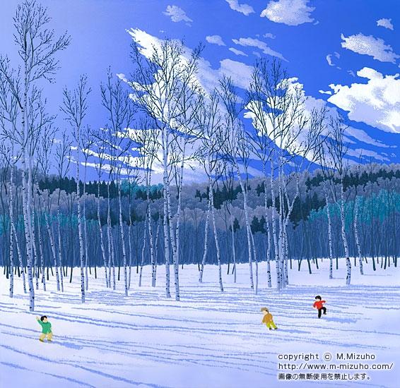 風花 冬の子どもの雪の懐かしい郷愁風景イラスト
